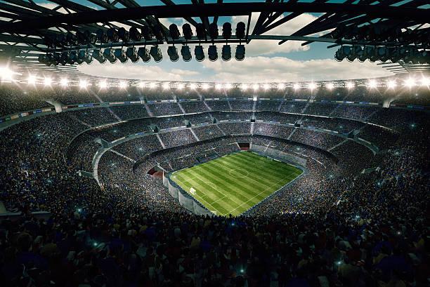 vue spectaculaire sur le stade de football de la tige - football photos et images de collection