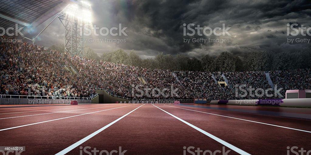Dramatic . stadium with running tracks stock photo