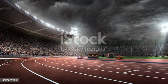 Outdoor floodlit stadium full of spectators under stormy evening sky and fog. Image made in 3D.