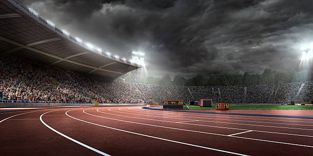 dramático estádio olímpico com trilhas de corrida - atletismo - fotografias e filmes do acervo