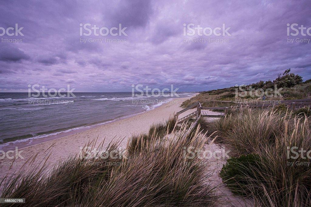 Dramatic stky over Mornington Peninsula Coastline stock photo