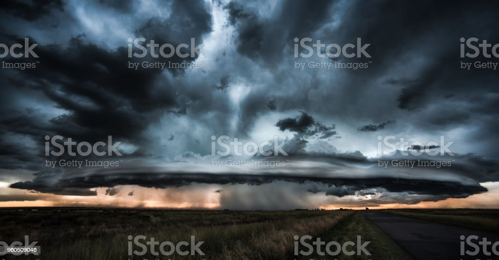 Dramatic storm and tornado stock photo