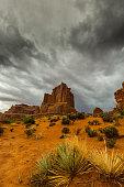 Stormy weather and rain in the Utah desert