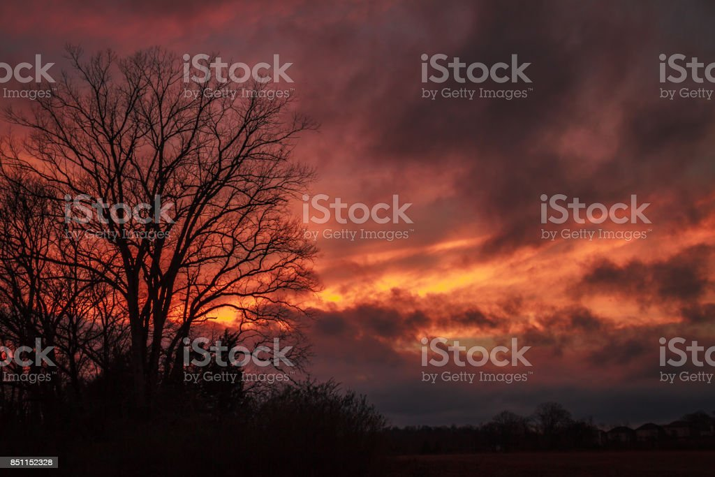 Dramatic Storm Sunset stock photo