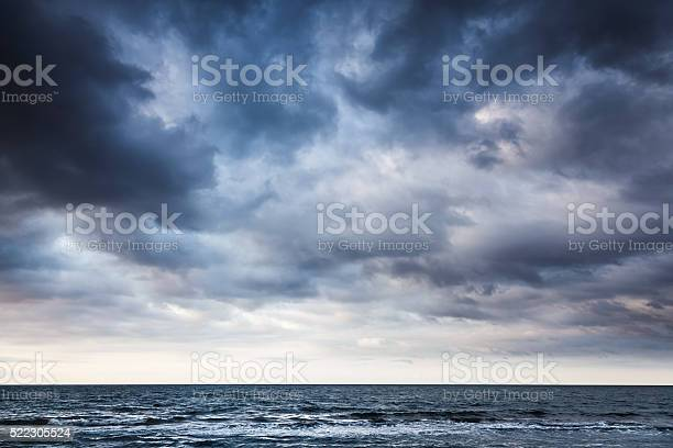 Photo of Dramatic stormy dark cloudy sky over sea