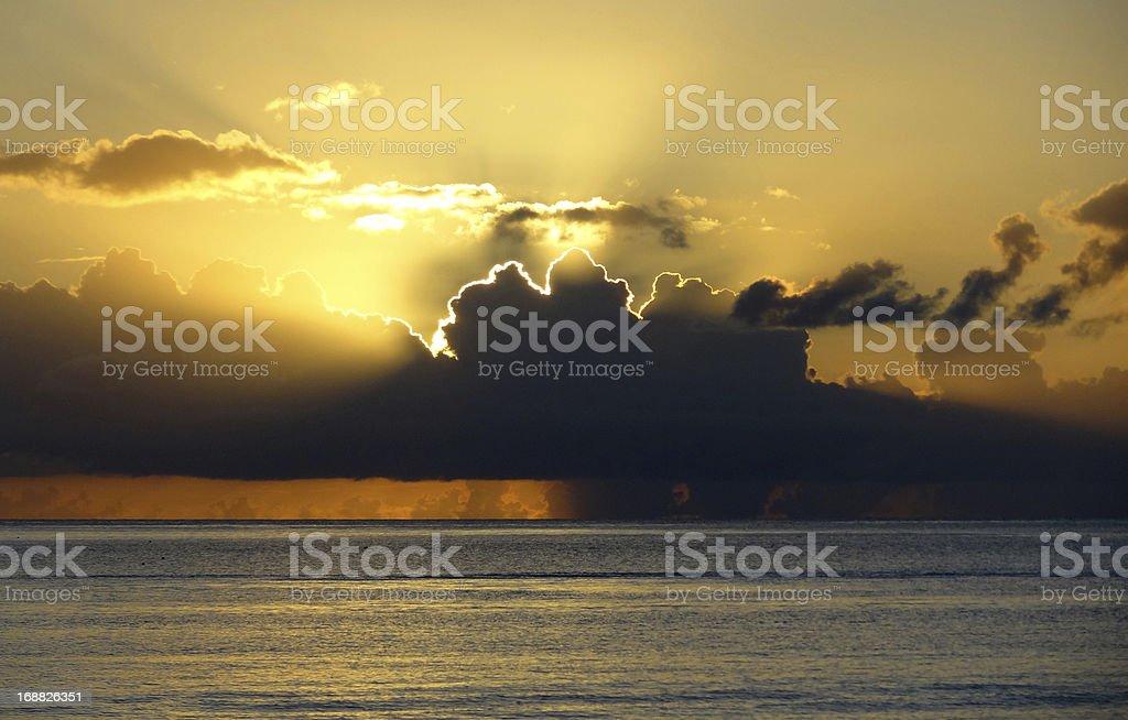 dramatic sundown scenery at Guadeloupe stock photo