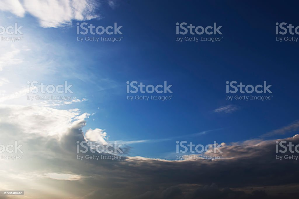 Dramatic sunlight and Color of morning blue sky and clouds. royalty-free stock photo