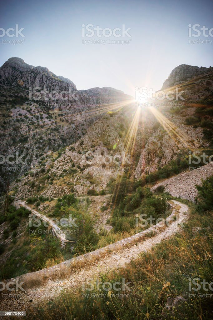 Dramatic Sunlight in the Mountains of Montenegro stock photo