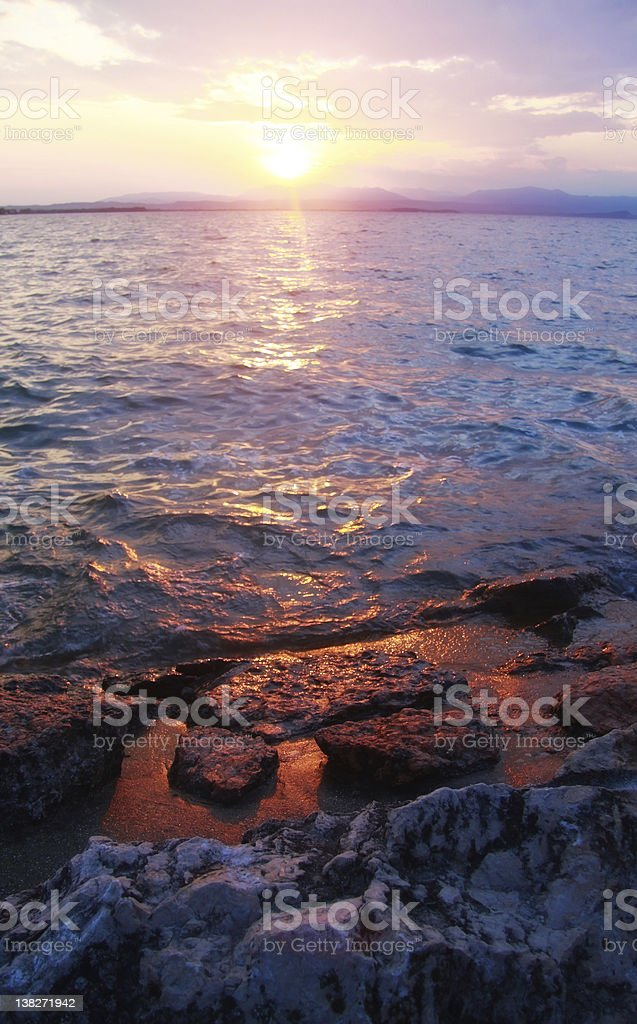 Dramatic Sunrise at Lake Garda Italy royalty-free stock photo