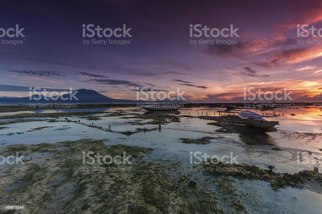 Dramatic sunrise in Bali stock photo