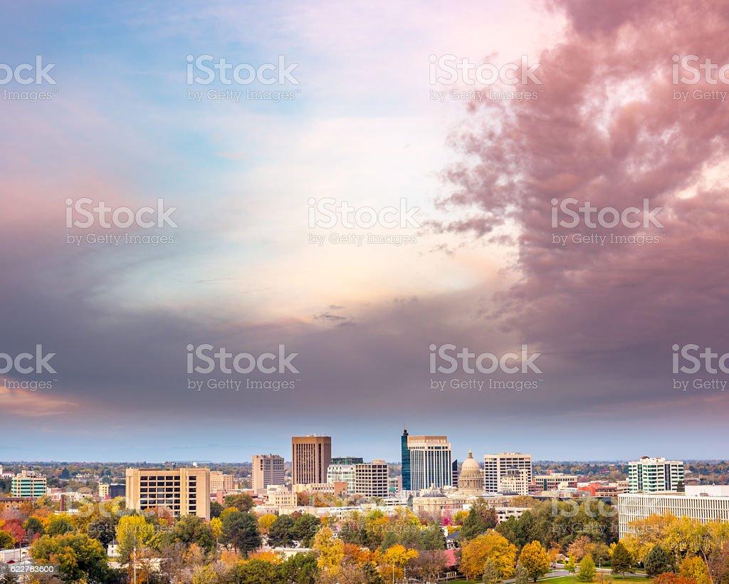 Dramatic sunrise over fall trees Boise stock photo