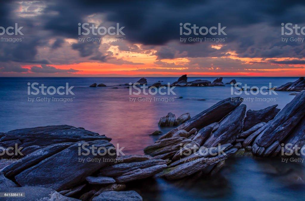 Dramatic Sunrise over lake stock photo