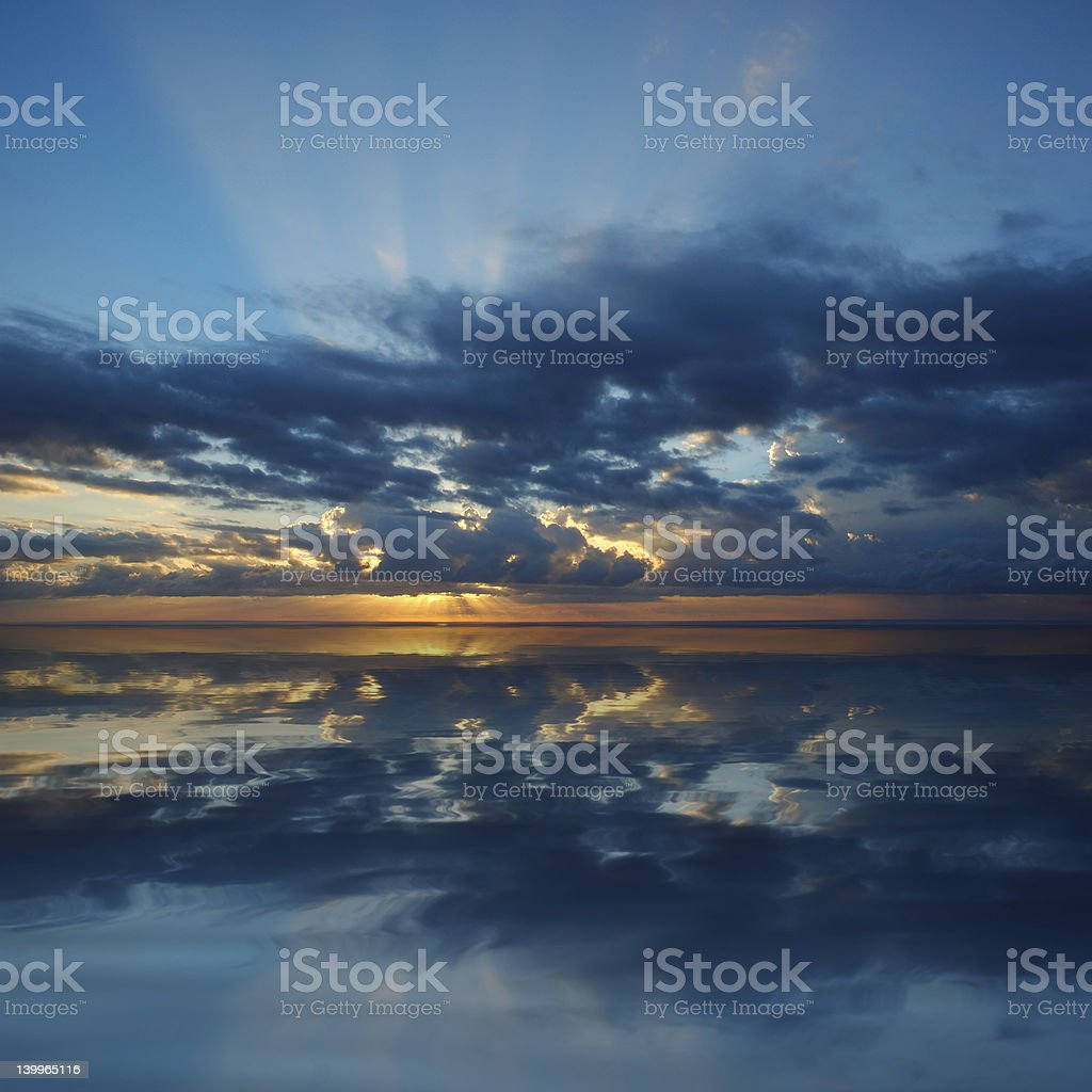 Dramatic sunrise over Pacific Ocean royalty-free stock photo