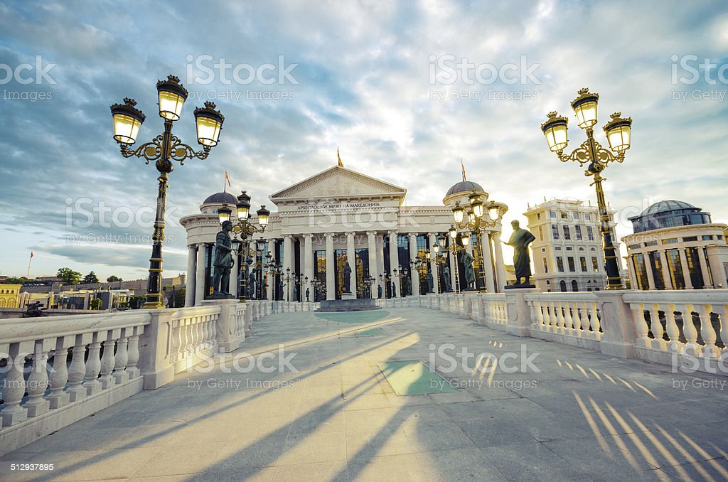 Dramatic sunrise view of Skopje, Macedonia, vintage stock photo
