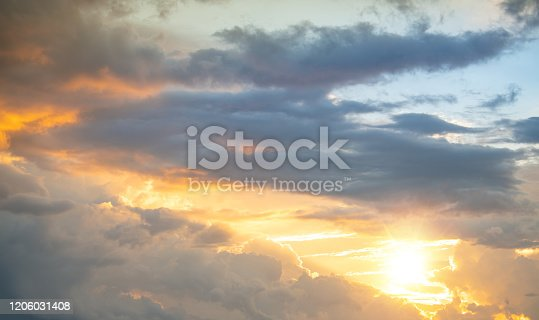 dramatic sunset and sunrise sky nature background with white clouds for design concept and isolated text