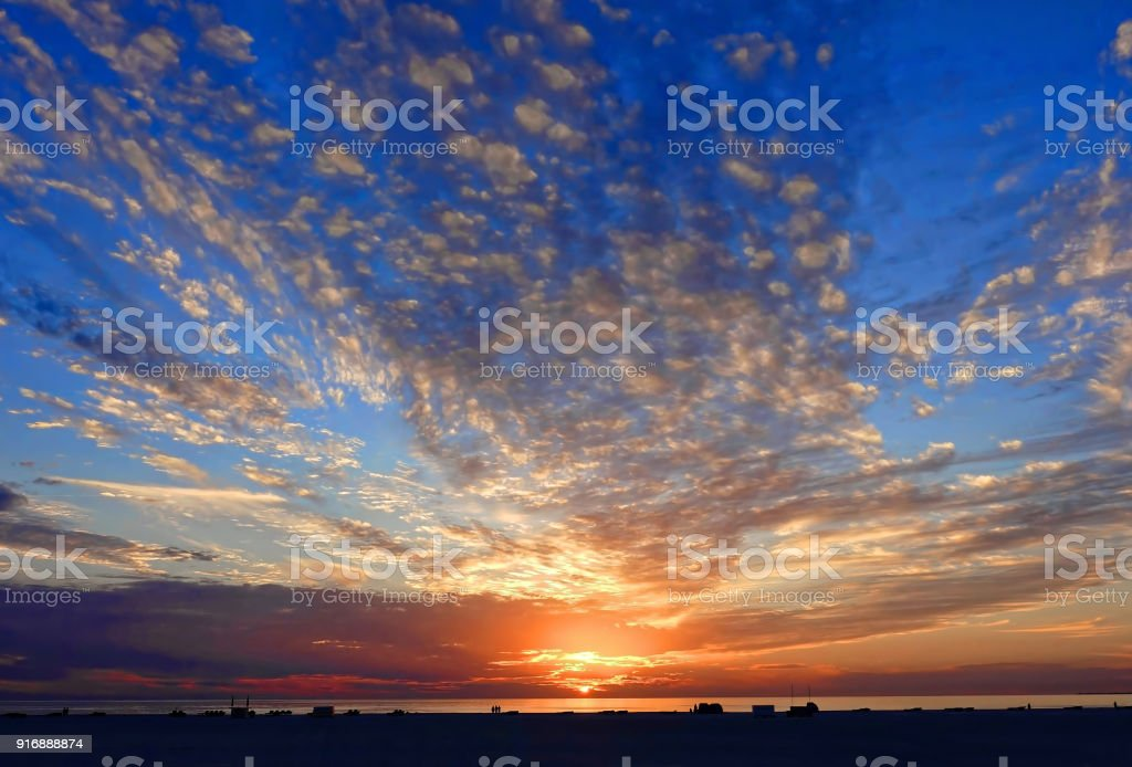 Dramatic sunset at Fort Myers Beach in Florida stock photo