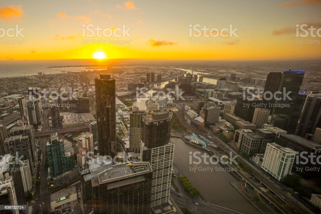 Dramatic sunset at Melbourne stock photo