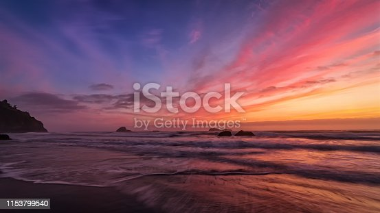 A very colorful and dramatic sunset over the Pacific Ocean.