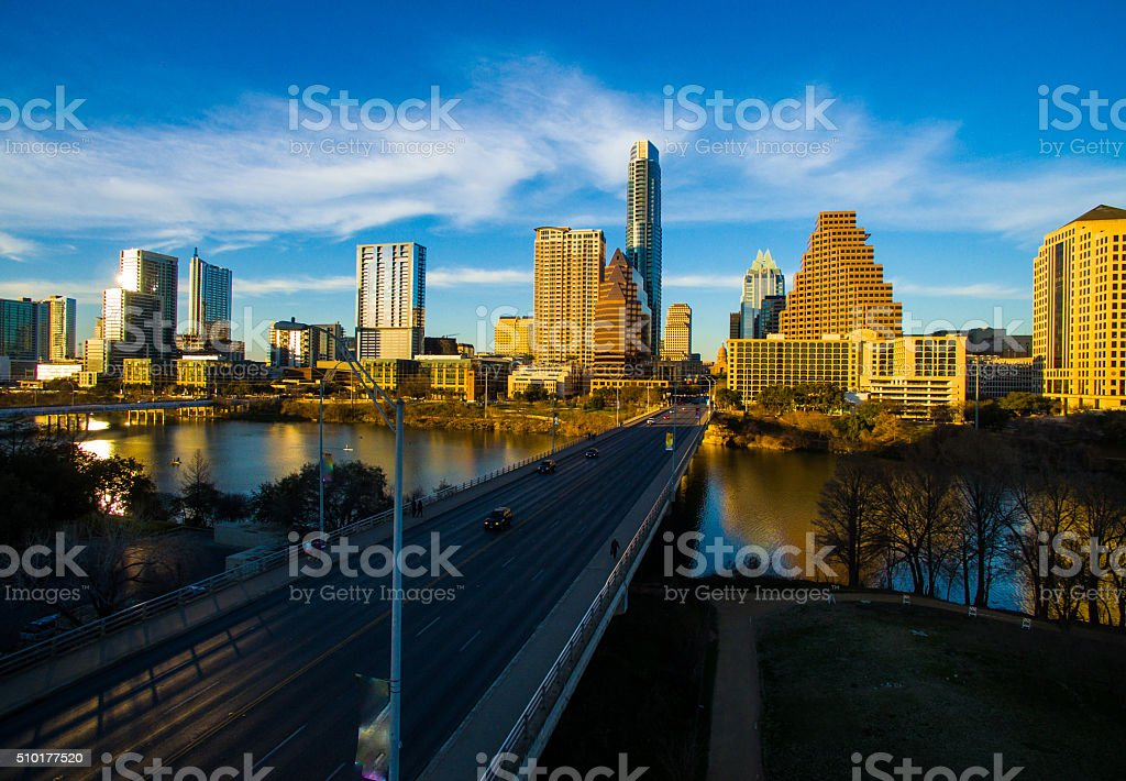 Dramatic Sunset Austin Texas 2016 Skyline Aerial Over Congress stock photo