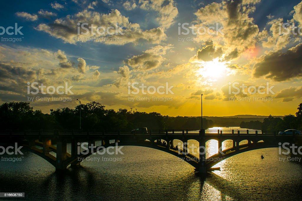 Dramatic Sunset Behind Lamar Bridge Austin Texas Town Lake stock photo
