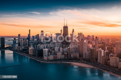 istock Dramatic Sunset - Downtown Chicago 1204331594