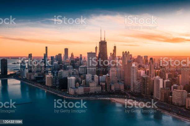 Photo of Dramatic Sunset - Downtown Chicago