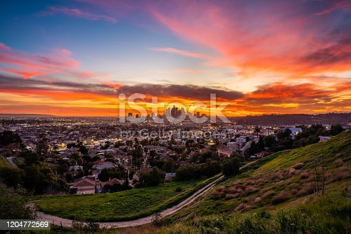 View of a dramatic sunset in Los Angeles.