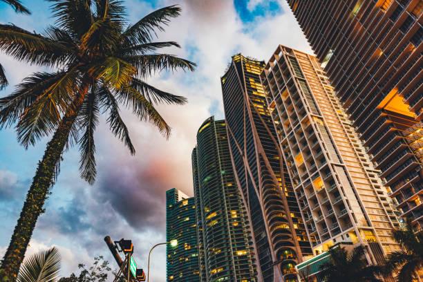 драматический закат в майами, флорида, на бульваре бискейн - деловой центр города стоковые фото и изображения