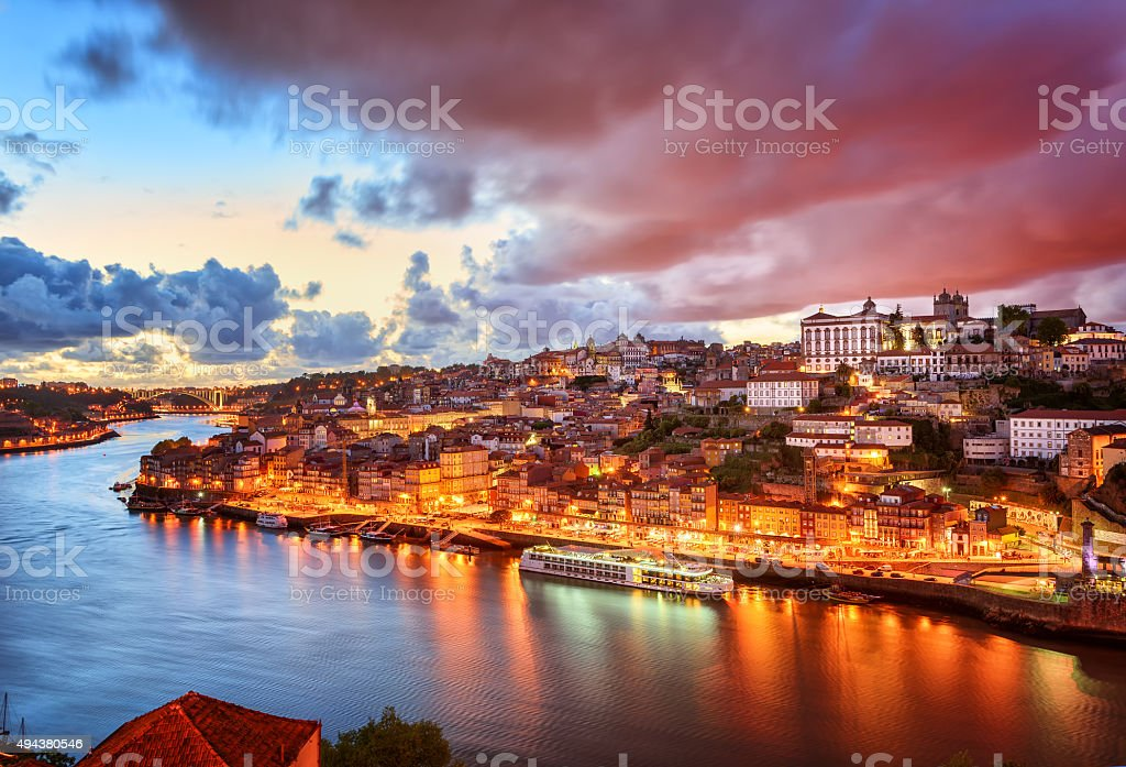 Dramatic sunset in Porto, Portugal stock photo
