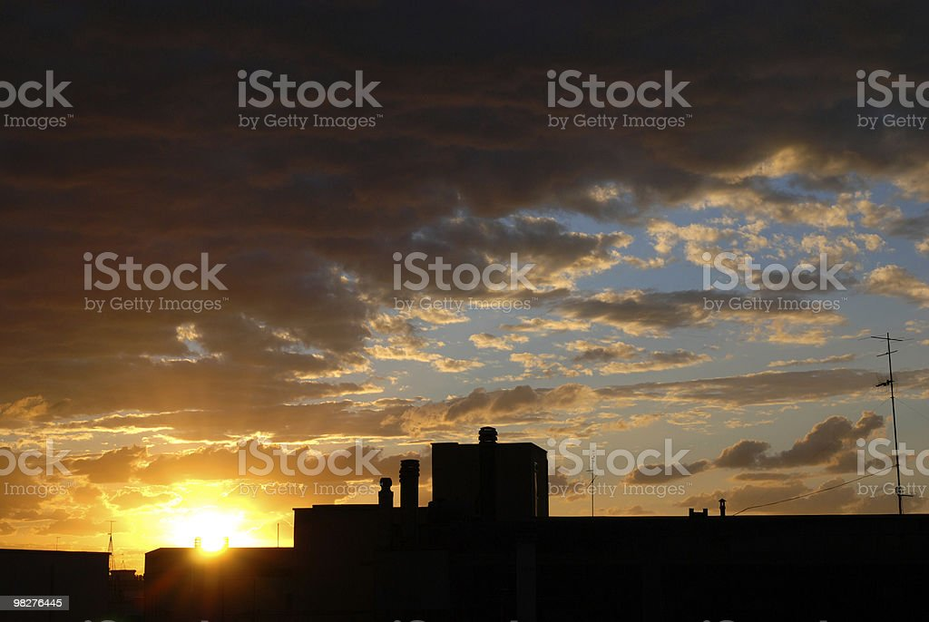 dramatic sunset in South Italy royalty-free stock photo