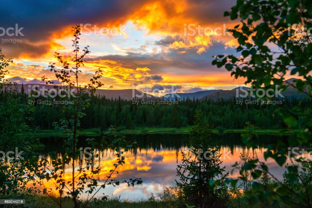 Dramatic sunset in the mountains. The light of the fading day, like a fire in the woods 免版稅 stock photo