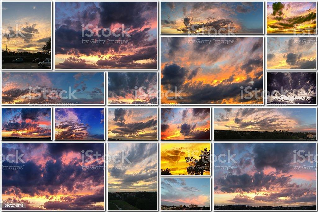 Des couchers de soleil, le feu dans le ciel avec nuages or photo libre de droits