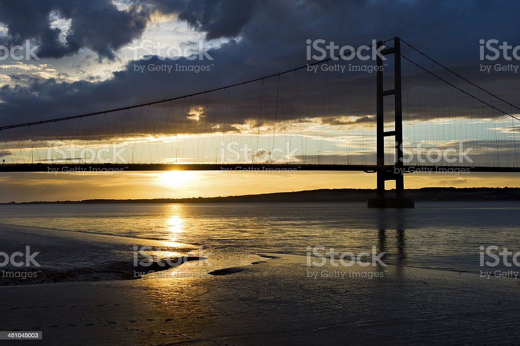 Dramatic sunset on River Humber stock photo