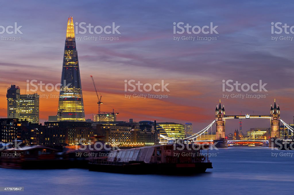 Dramatic sunset on the new London skyline royalty-free stock photo