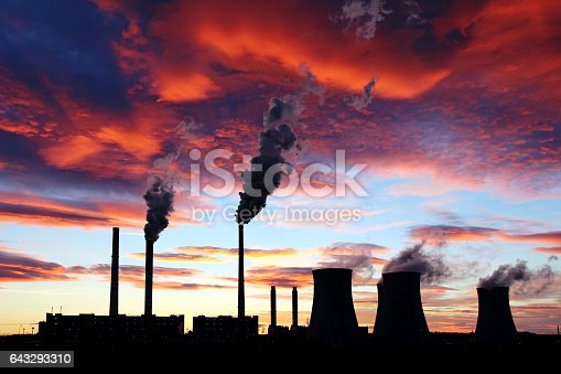 istock dramatic sunset on the sky and coal power plant factory 643293310