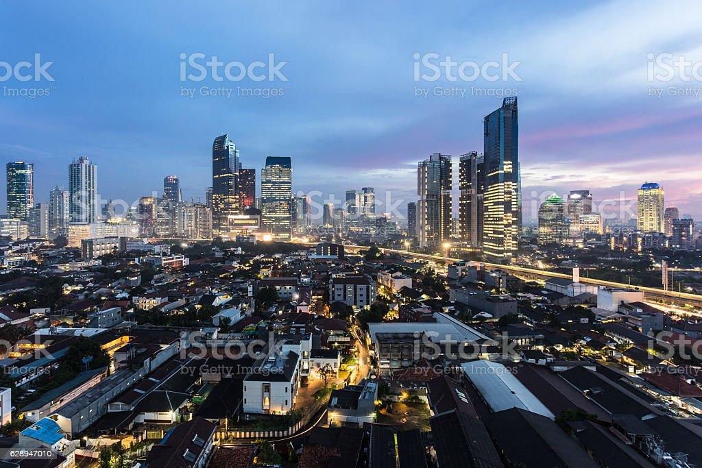 Dramatic sunset over Jakarta, Indonesia capital city. stock photo