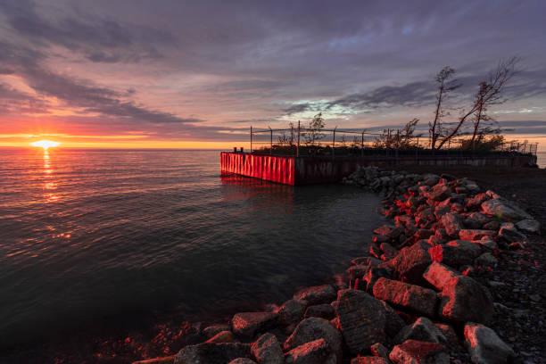 Dramatic Sunset Over Lake Erie, Newph's Landing, Ohio stock photo