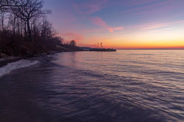 Dramatic Sunset Over Lake Erie, Ohio USA stock photo