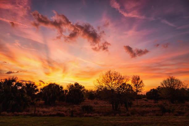 Ein dramatischer Sonnenuntergang über das ländliche Florida, USA – Foto