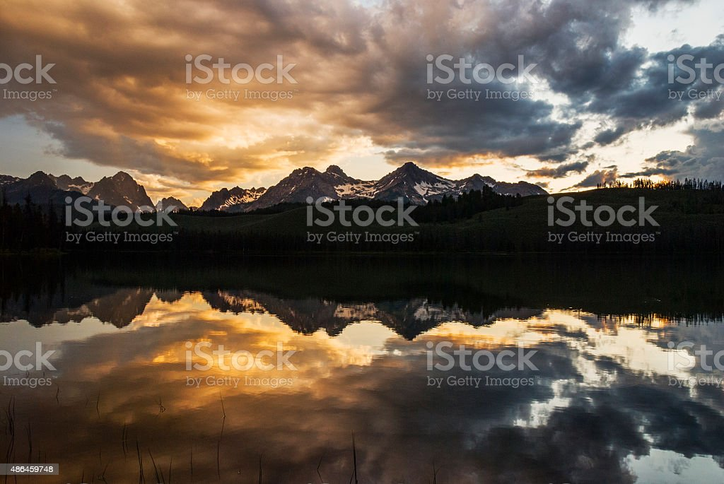 Dramatic Sunset over Sawtooth Mountain Range in Stanley Idaho stock photo