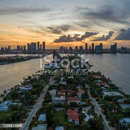 Sunset over Miami, the aerial view from Venetian Islands
