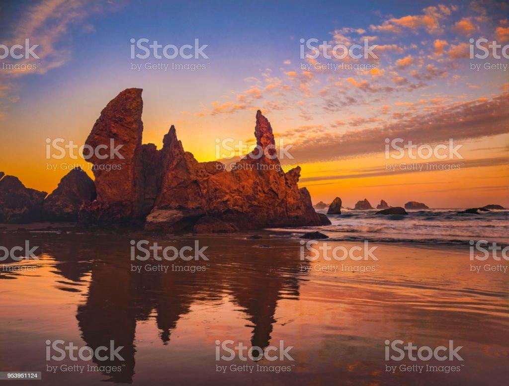 Dramatic sunset seascape at Bandon Beach, Oregon stock photo