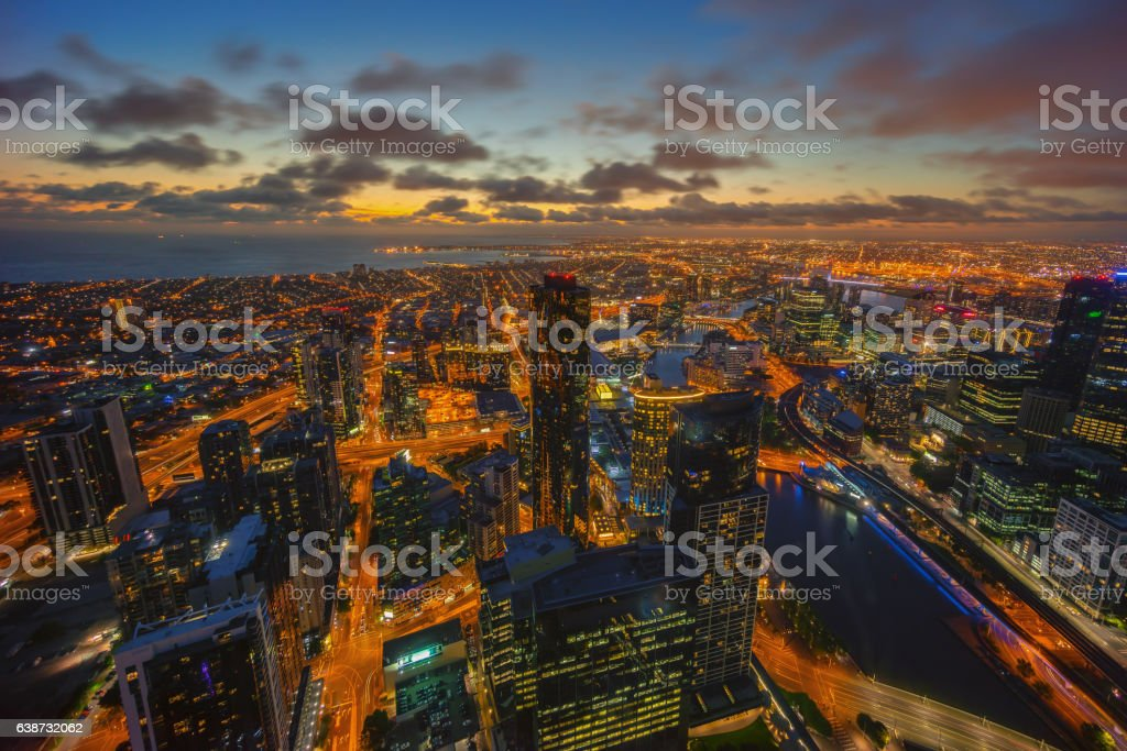 Dramatic sunset sky at Melbourne, Australia stock photo