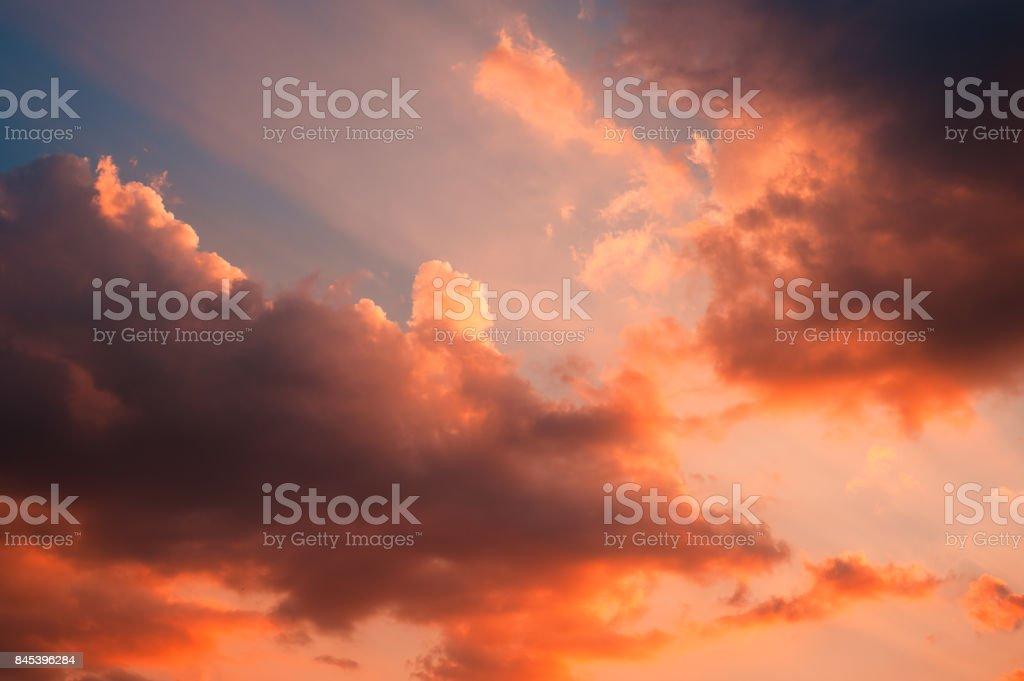 Dramatic sunset sky background outdoors shot