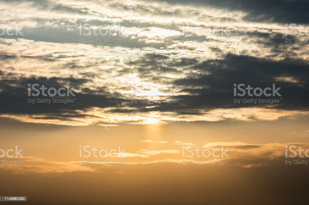 Beautiful dramatic clouds at sunset.