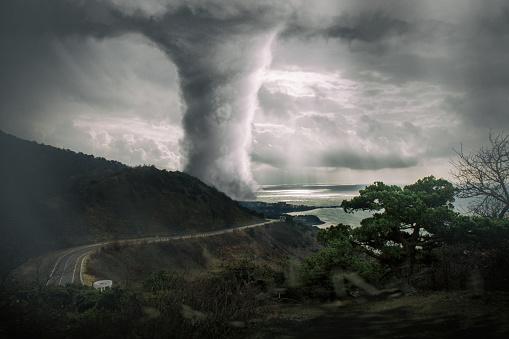 Tornado on the Sea - bird view (high angle view)