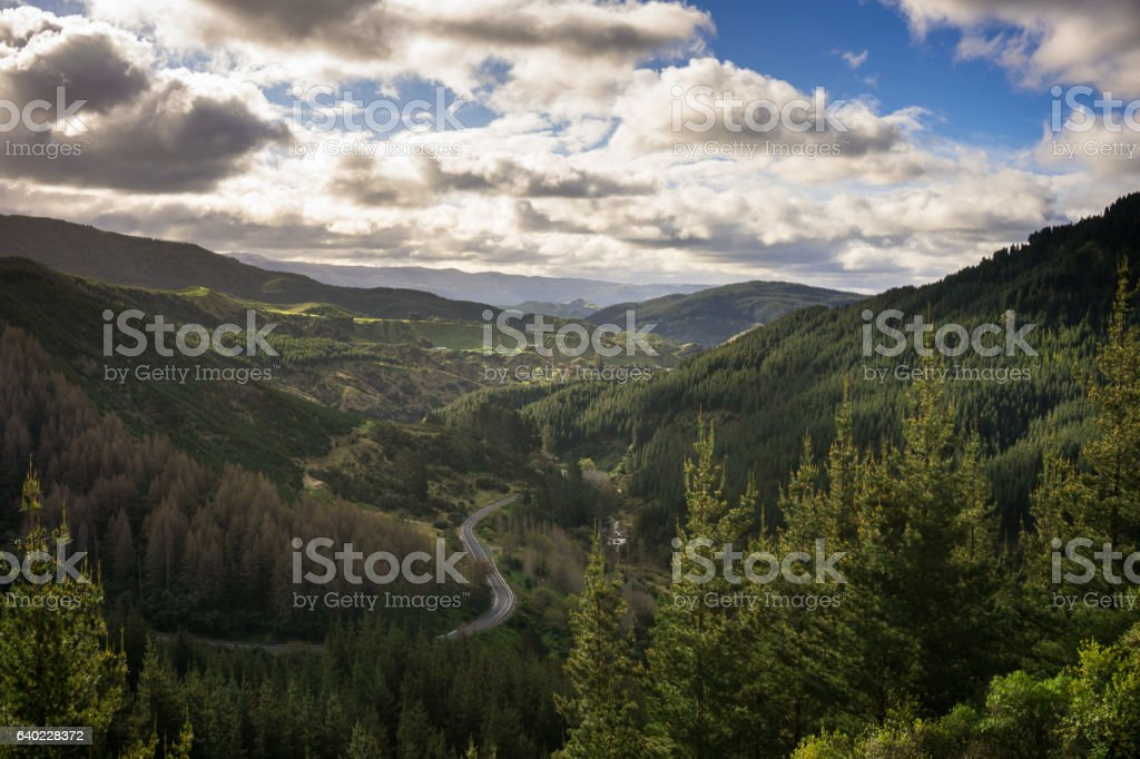 Dramatic Valley with Winding Road in Hawkes Bay, New Zealand stock photo