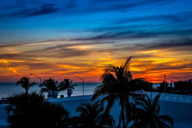 Dramatic vibrant sunset scenery in Key West, Florida stock photo