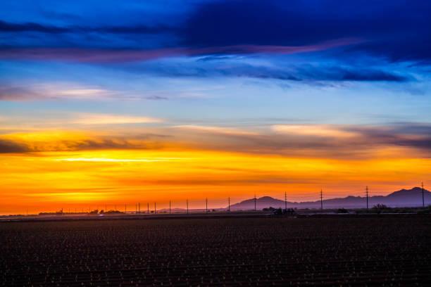 Dramatic vibrant sunset scenery in Yuma, Arizona stock photo