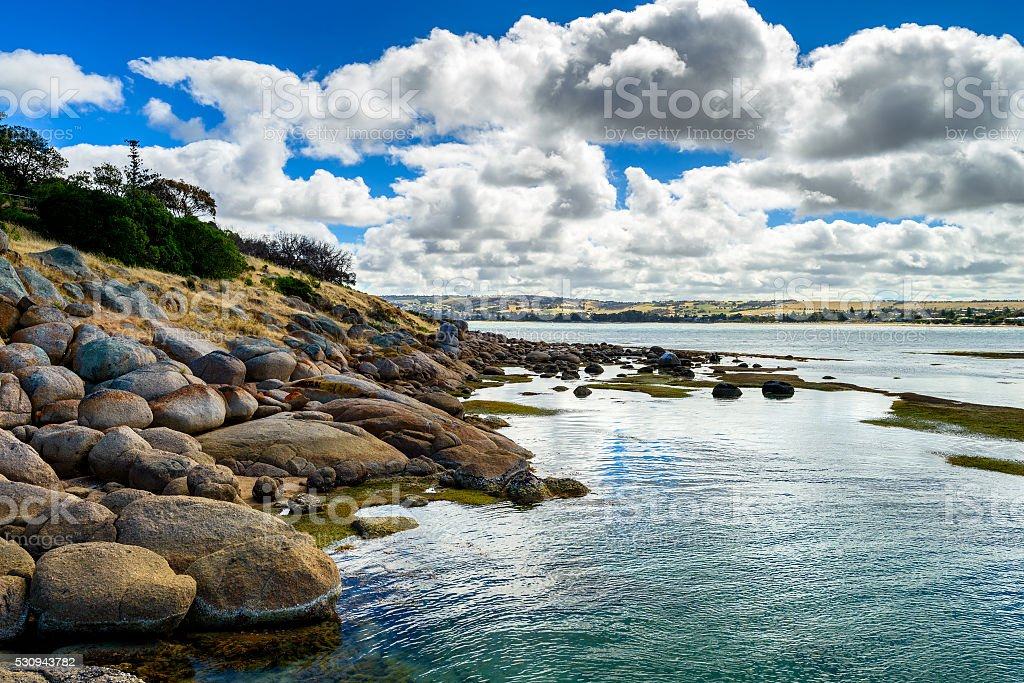 Dramatic view at Victor Harbor from Granite Island stock photo